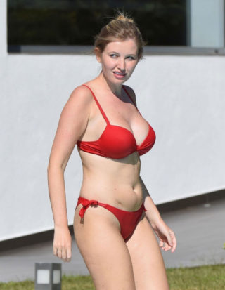 Amy Hard in a Red Bed Bikini at a Pool in Portugal