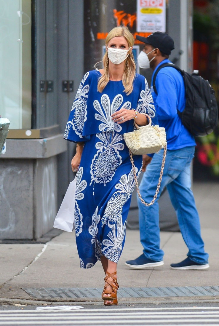 Nicky Hilton in an Ethereal Blue and White Maxi Dress and a Crocheted Purse after a shopping in NY