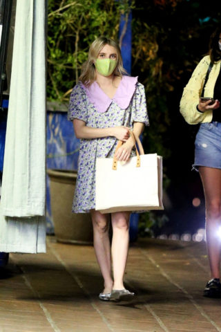 Pregnant Emma Roberts Out for Dinner in Hollywood