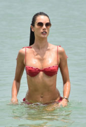 Alessandra Ambrosio in Bikini on the Beach in Florianopolis