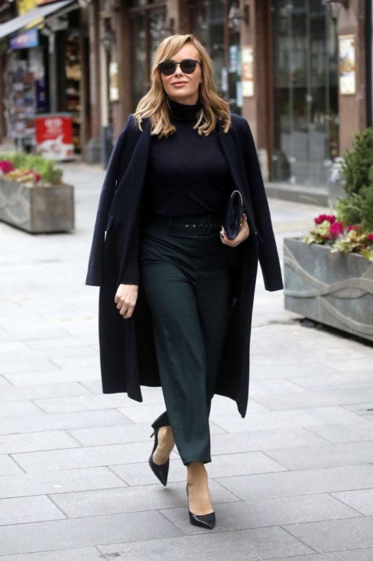 Amanda Holden arrived at Heart Radio studios in London