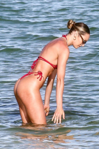 Candice Swanepoel in a Red Bikini at a Beach in Miami