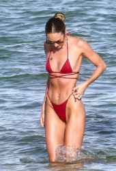 Candice Swanepoel in a Red Bikini at a Beach in Miami