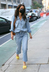 Katie Holmes in Double Denim Out in New York