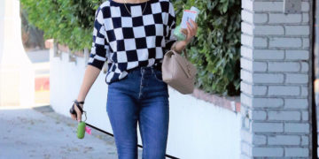 Lucy Hale Out with Her Dog in Los Angeles
