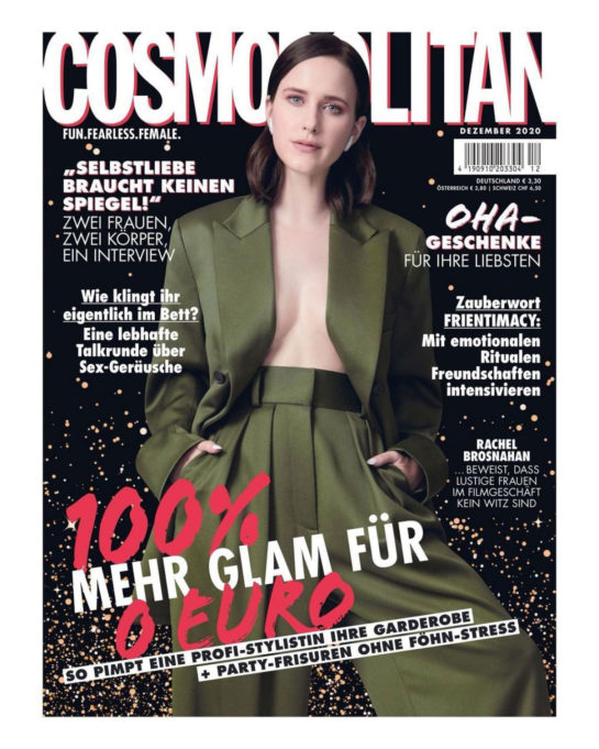 Rachel Brosnahan in Cosmopolitan Magazine Germany December 2020
