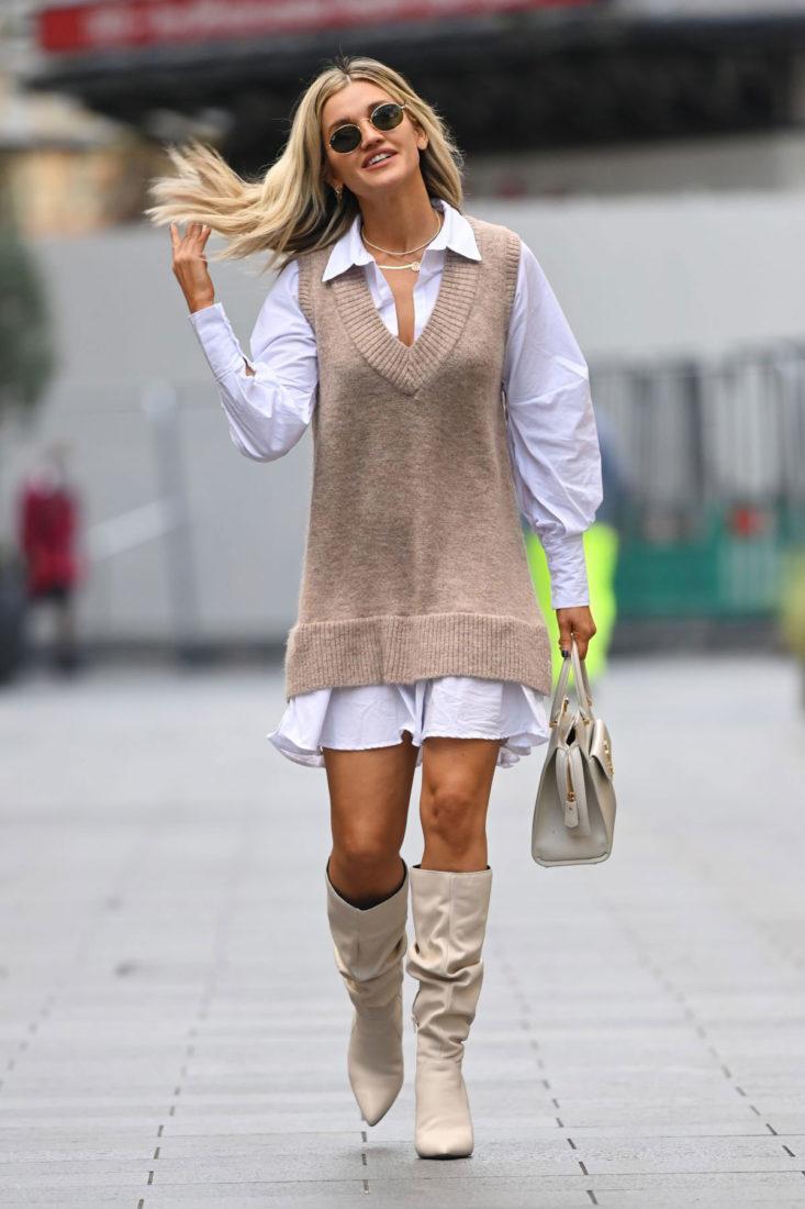 Street Style - Ashley Roberts Leaves Heart FM Studio in London