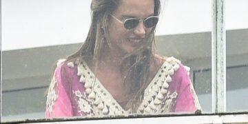 Alessandra Ambrosio on her hotel balcony in Florianopolis