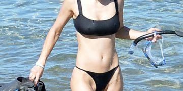 Alexandra Daddario in a Black Bikini at a Beach in Maui
