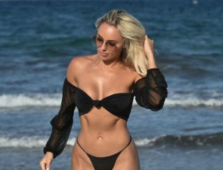 Amber Turner in Bikini at a Beach in Dubai