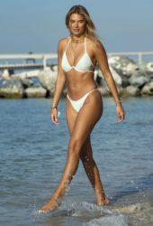 Arabella Chi in a White Bikini at a Beach in Dubai
