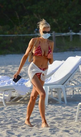 Charlotte McKinney in Bikini at a Beach in Miami