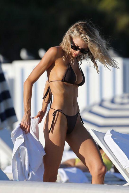 Charlotte McKinney in a Black Bikini on the Beach in Miami