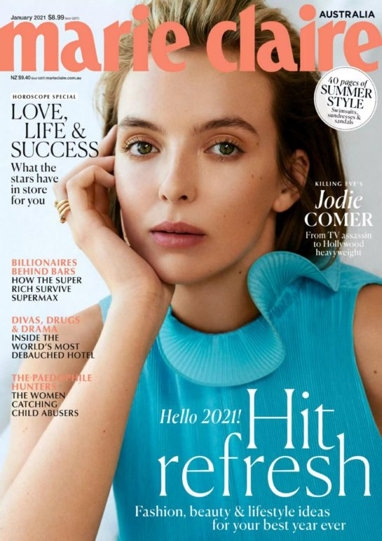 Jodie Comer in Marie Claire Magazine, Australia January 2021