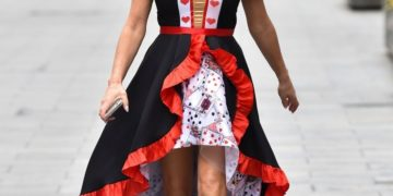 Amanda Holden Dressed as Queen of Hearts in London