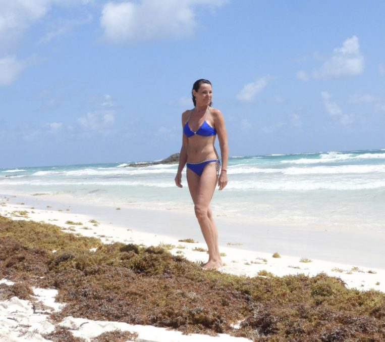 Luann De Lesseps in Bikini at a Beach in Tulum