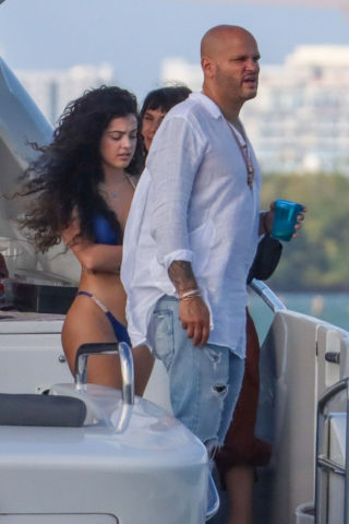 Malu Trevejo in a Blue Bikini on a Boat in Miami