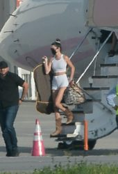 Kendall Jenner arrived on Kylie's private jet in Los Angeles