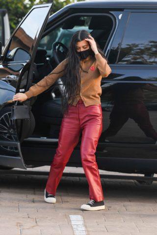 Kourtney Kardashian in a Red Leather Pants at Nobu in Malibu
