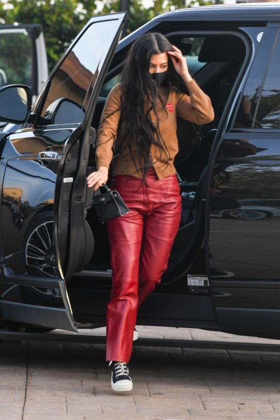 Kourtney Kardashian in a Red Leather Pants at Nobu in Malibu
