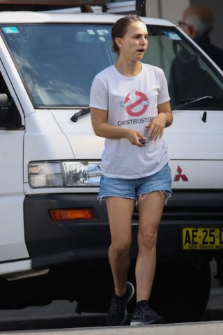 Natalie Portman in Denim Shorts Out in Sydney