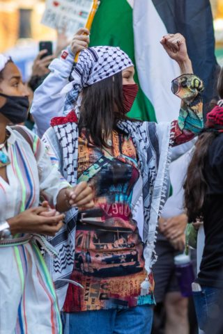 Bella Hadid at a pro-Palestinian protest in New York City