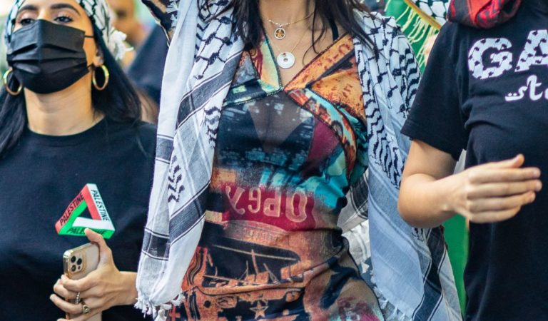 Street Style – Bella Hadid at a pro-Palestinian protest in New York City