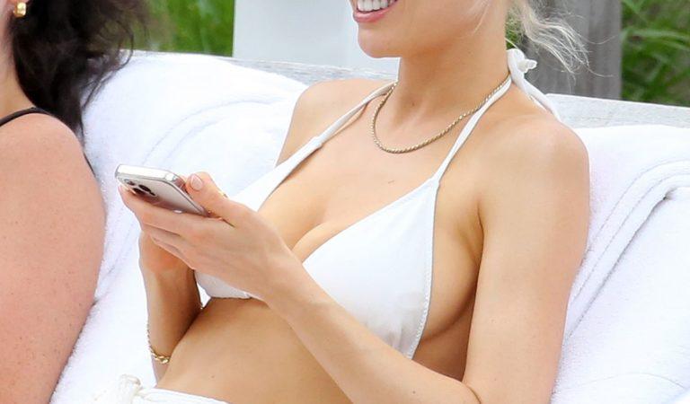 Celebrity Bikini – Charlotte McKinney in a White Bikini at a Beach in Miami