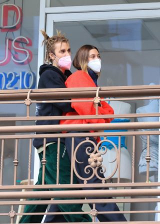 Hailey Bieber and Justin Bieber leaving Sushi Park in West Hollywood, California