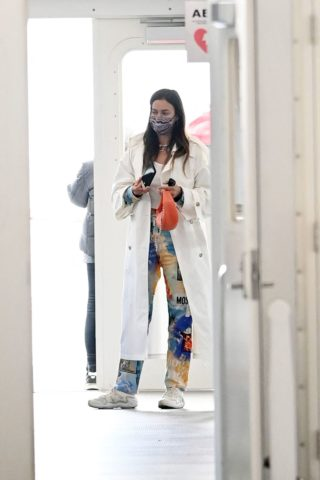 Irina Shayk Takes the ferry out to Governor's Island in New York