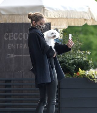 Olivia Palermo Walks Her Dog Out In New York
