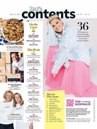 Pink in People Magazine, May 2021
